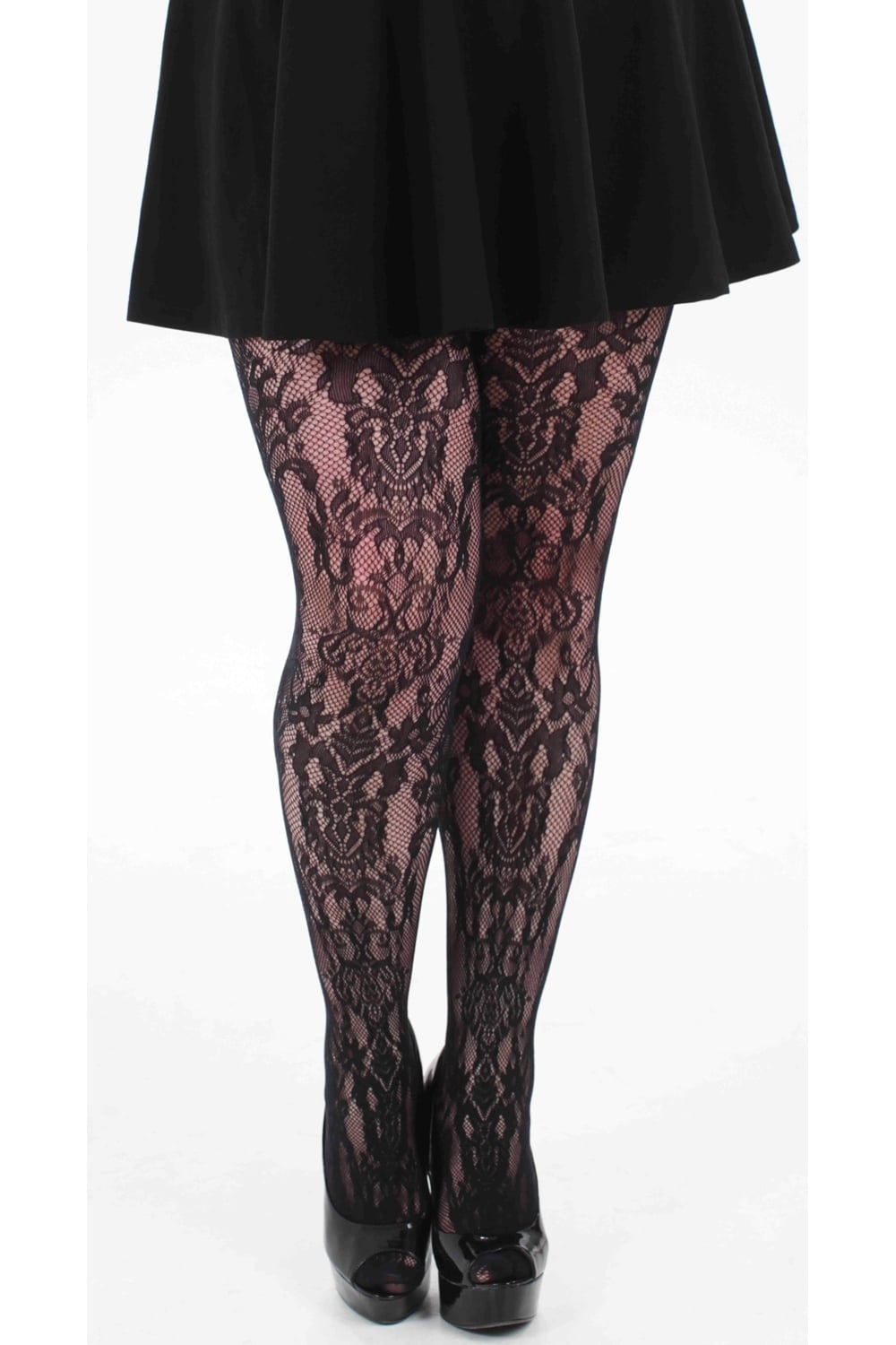 BAROQUE BLACK LACEY LACE TULLE TIGHTS PAMELA MANN INC PLUS SIZE XL XXL XXXL