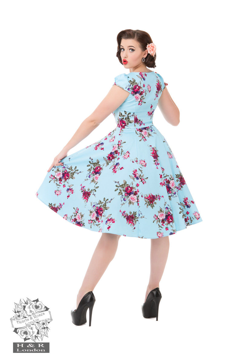 956a87767fb8 HEARTS AND ROSES H&R HEAVENLY AUDREY FLORAL SWING DRESS RETRO ...