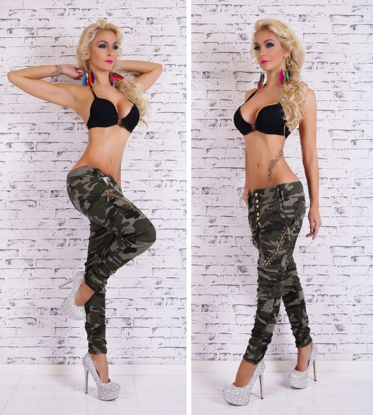 a494eb43a7 Dettagli su Sexy Nuovo Donna Militare Camo Pantaloni Jeans Ragazzo Harem  Larghi Alta Qualità