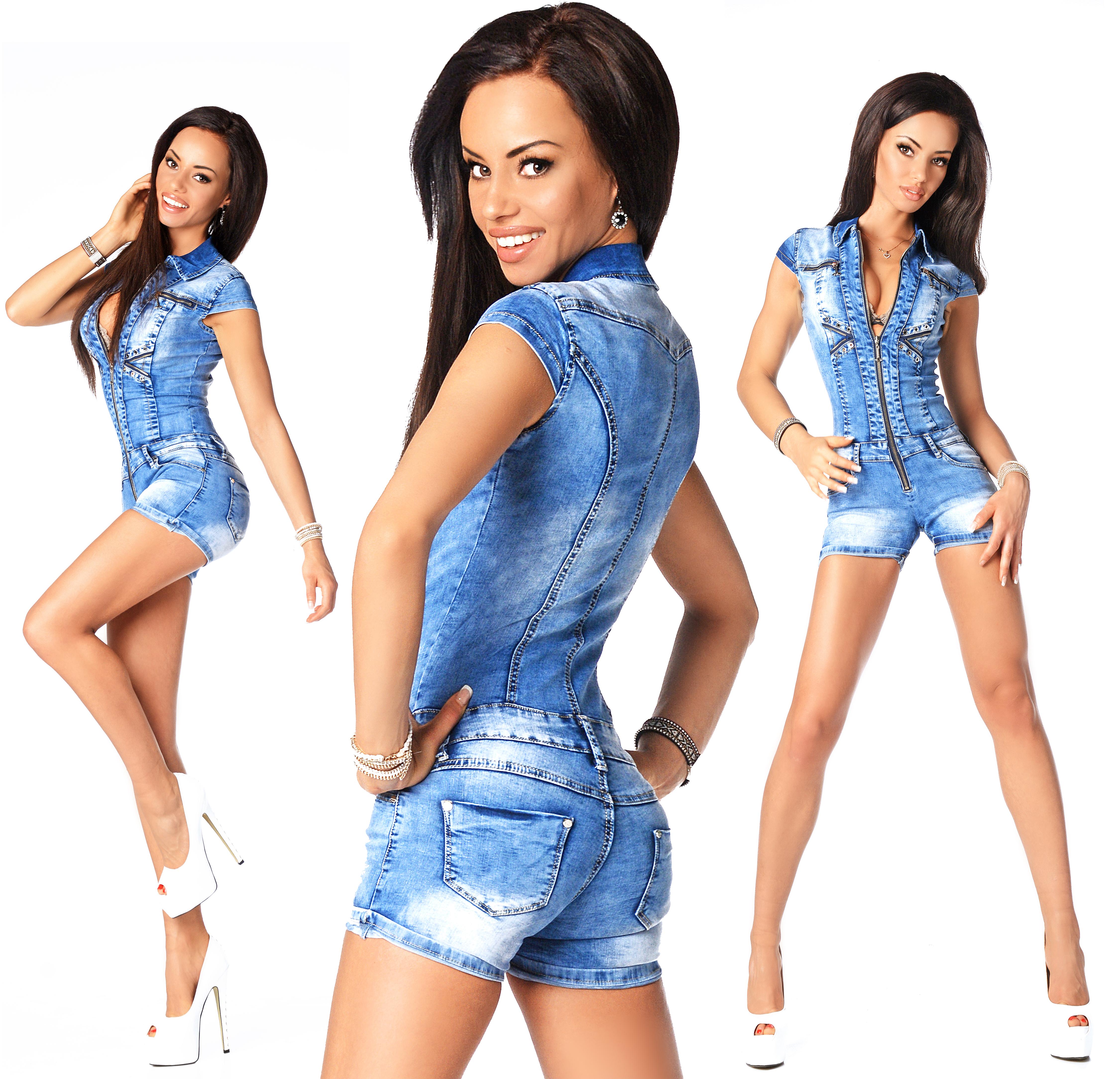 Sexy Womens Denim Light Blue Jeans Hot Pants Playsuit Jumpsuit