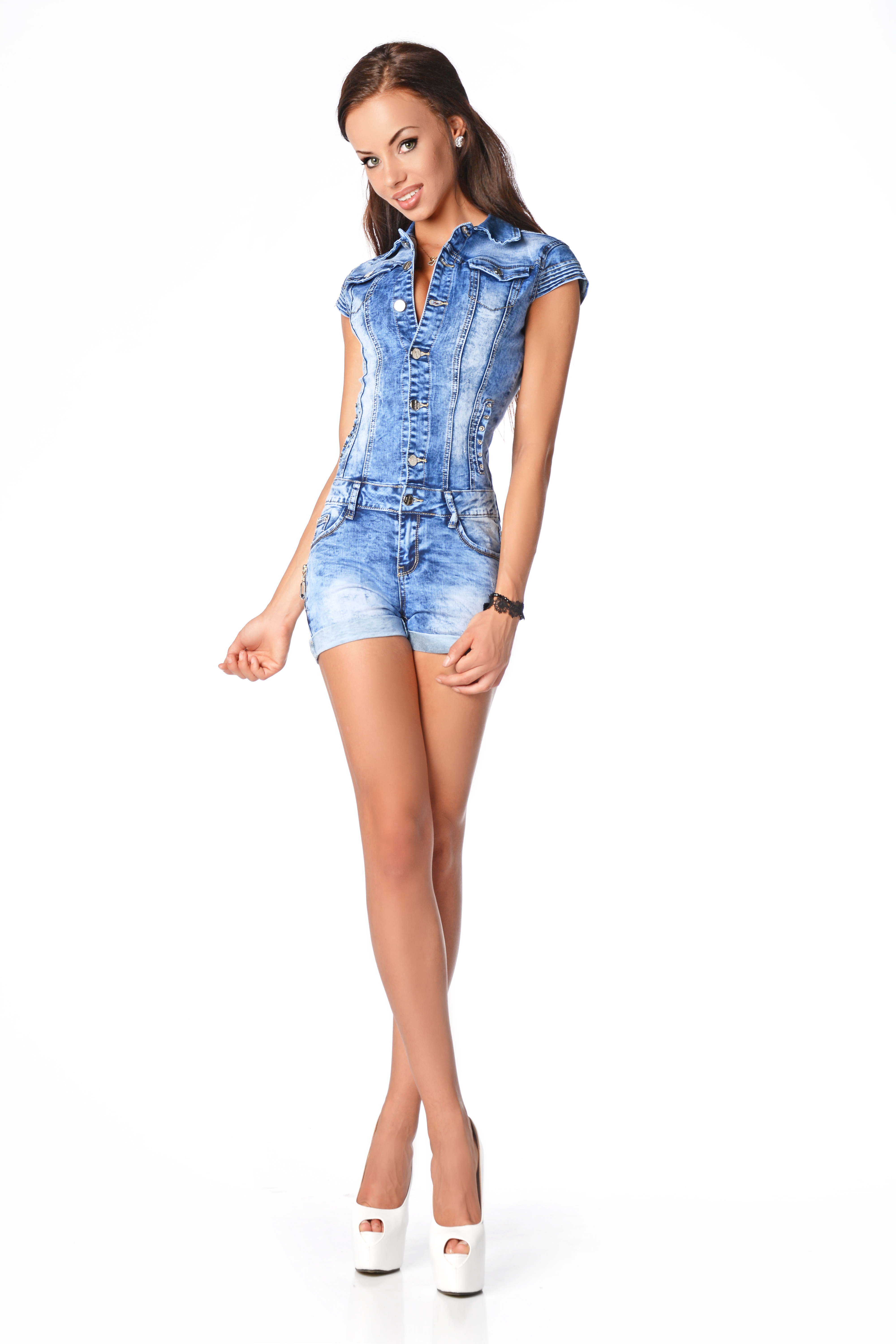 Sexy Womens Denim Light Blue Jeans Hot Pants Playsuit Jumpsuit Overall 593