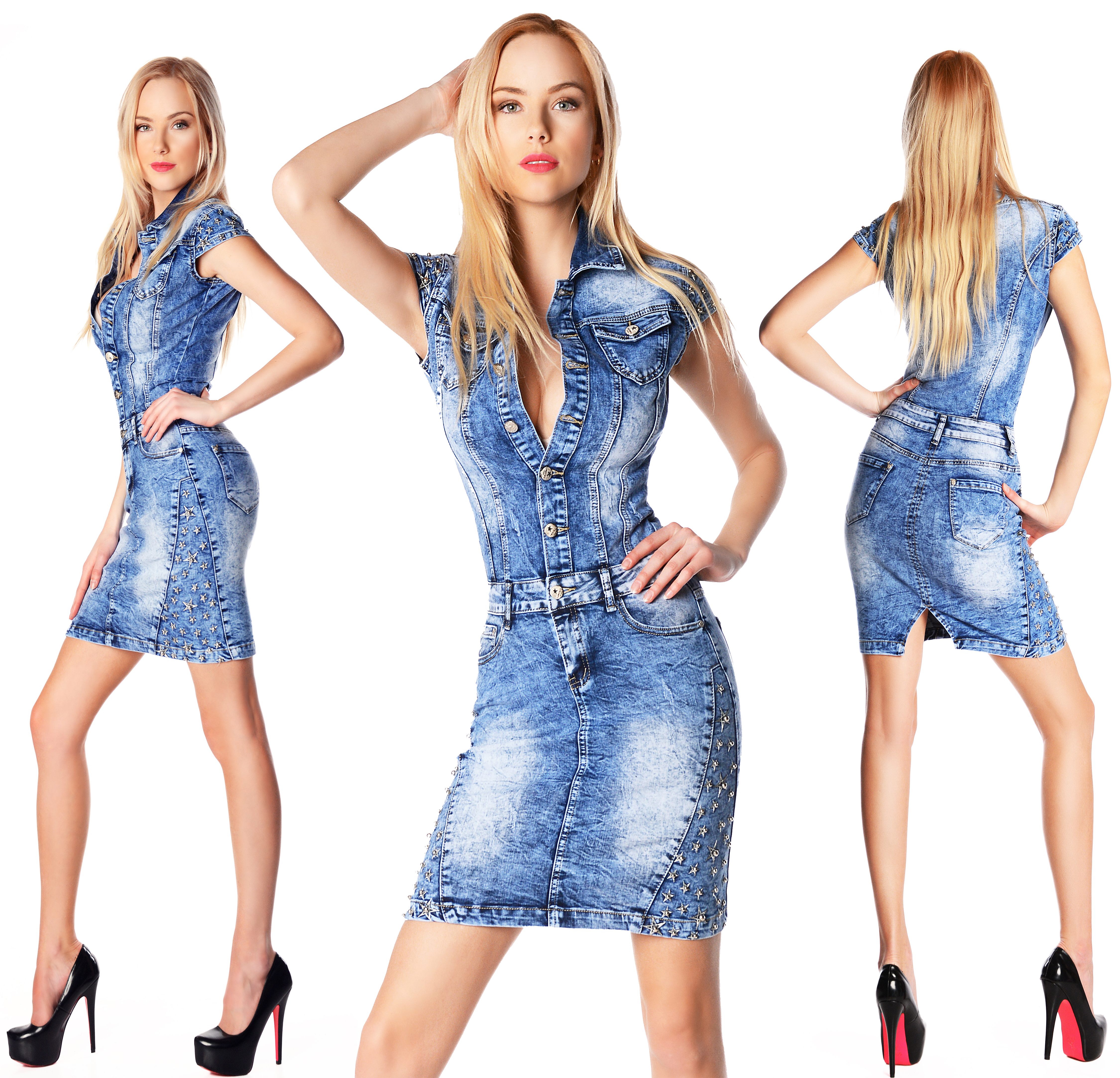 sexy new womens denim blue office pencil dress jeans mini long sleeve h 839 ebay. Black Bedroom Furniture Sets. Home Design Ideas