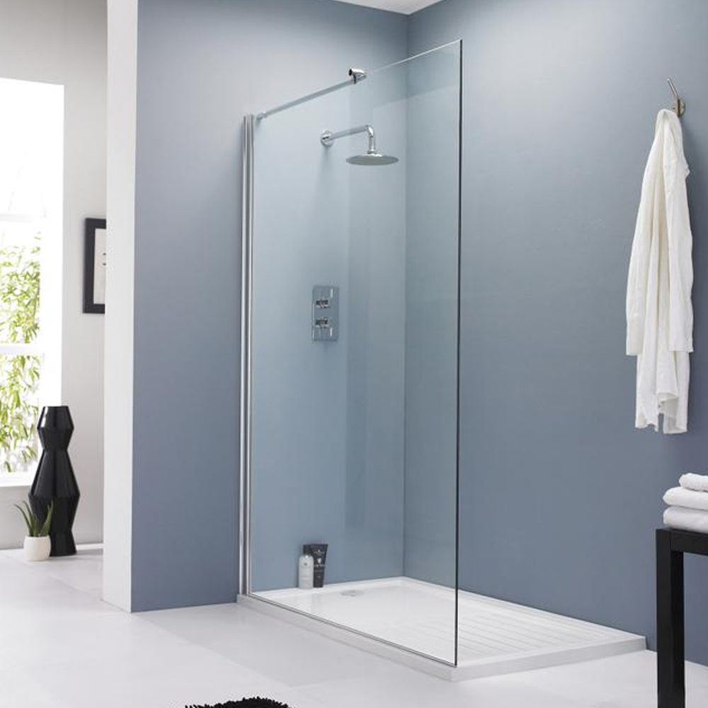 Hudson Reed 800mm Walk In Wet Room Shower Screen Panel 8mm Easy Clean Glass