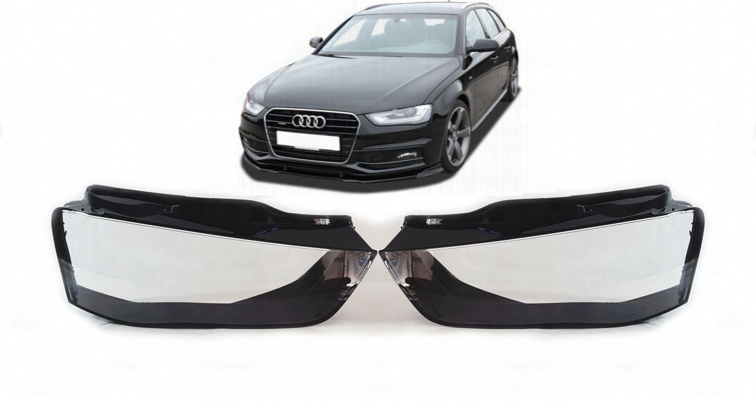 Details about Headlight Lens AUDI A4 B8 (12 - 15) Headlamps Lamp  Replacement Covers Pair Lens