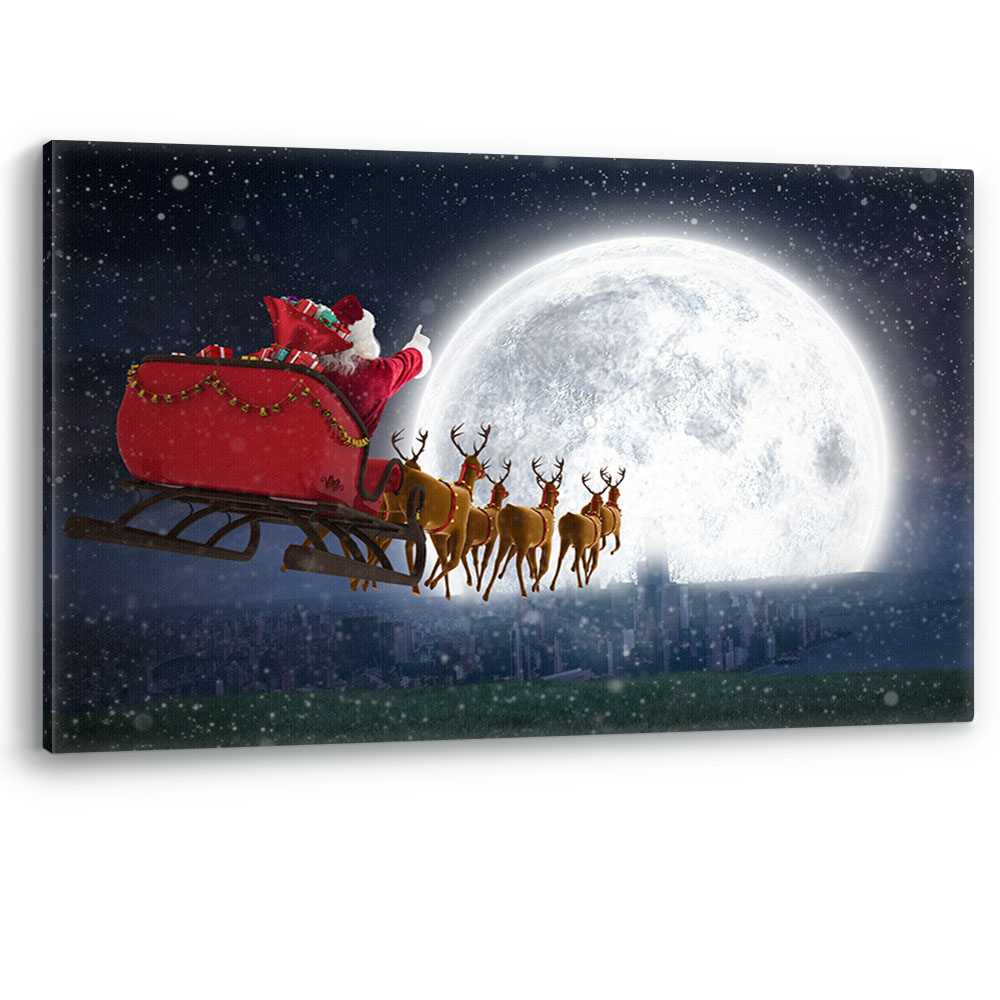 Santa with Sack Gifts Christmas Eve Star Snow Canvas Wall Art Picture Print A0
