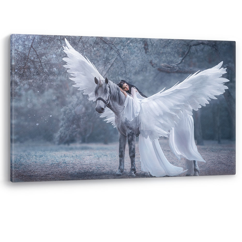 Girl on a Unicorn Canvas Wall Art Picture Print White Horse Mystical Large A0 A2