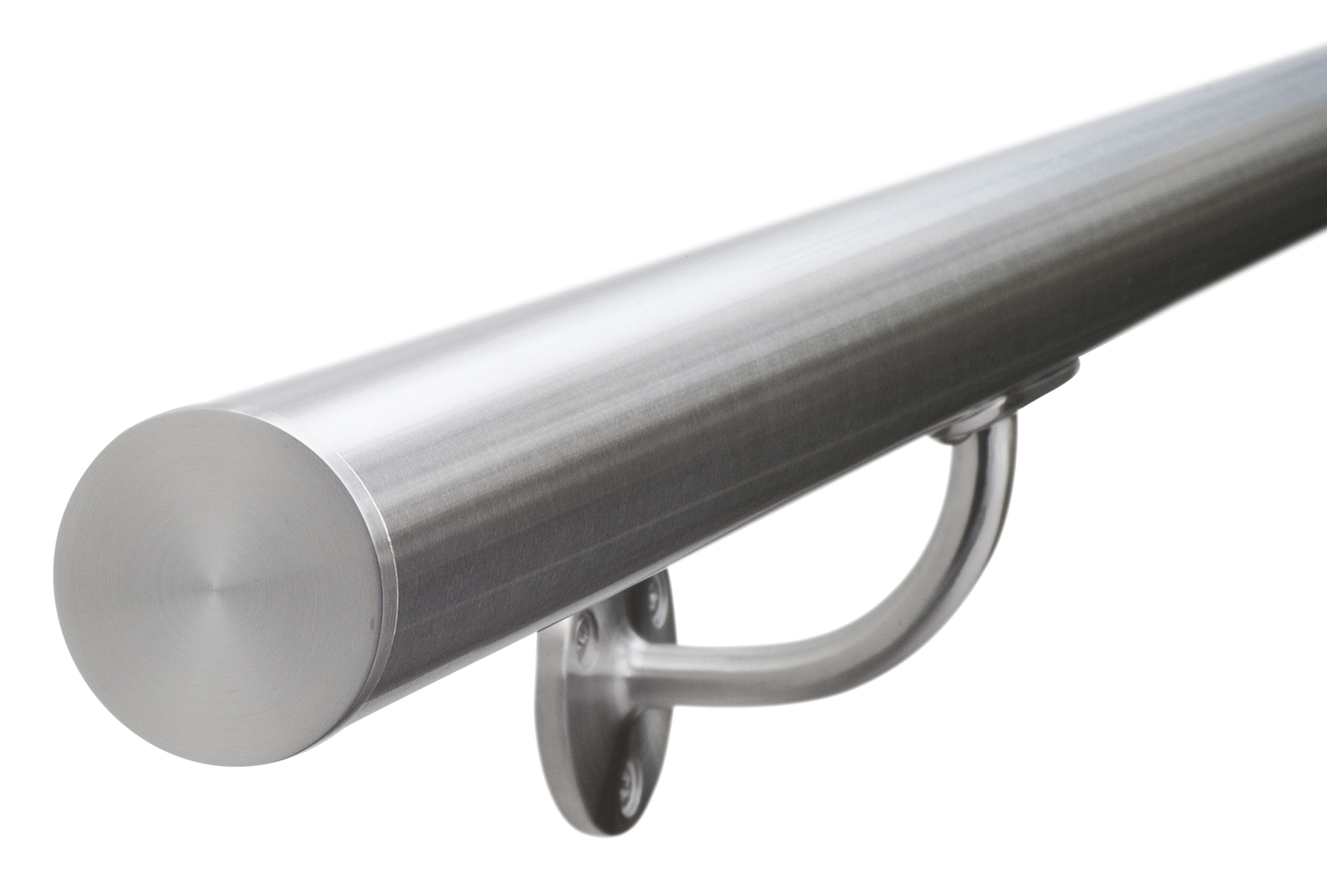 Brushed satin stainless steel stair handrail grit