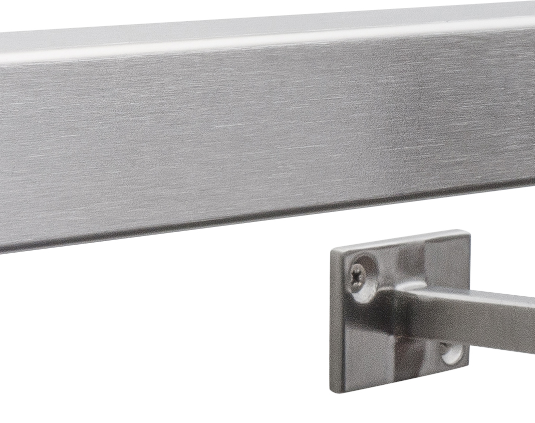 Pre-Assembled Brushed Satin-Polish Square Stainless Steel Stair Handrail Select Length